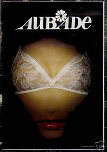 Original Vintage Poster Aubade Bra Breast Mouth Surreal Lingerie Underwear Paris