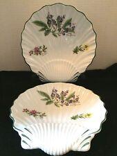 Set of 2 WORCESTER HERBS 1998 Royal Worcester Fine Porcelain Shell Plates Dishes