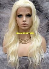 Long Beach Wavy Platinum Blonde Lace Front Full Wig Heat Ok Hair Piece #613A