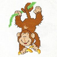Monkey Cross Stitch Kit for Beginners Animals Embroidery Set DIY Kit for Kids