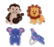Safari Zoo Animals Baby Shower cupcake rings (24) party favor cake topper 2 doz