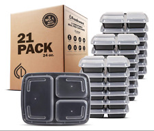 Freshware Meal Prep Containers 21 Pack 3 Compartment with Lids Food Storage Box
