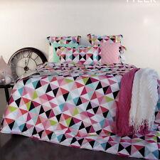 TYLER White AQUA Peach Pink Black Poly-Cotton QUEEN Quilt Doona Duvet Cover Set