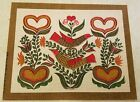 "Vintage Hand Print Folk Art Birds & Hearts Linen Picture 11"" x 14"" Artistic Pic"