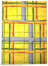 """66""""x54"""" CURTAINS POCHIKA CHECK LEMON YELLOW RED GREEN BLUE WITH TIE BACKS"""