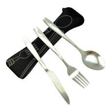 3PCS Steel Tableware Set Portable Silverware Travel Camping Knife Fork Spoon