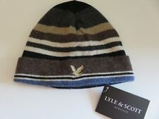 Lyle & Scott beanie hat boys age 6-10 yrs dark grey brown beige blue eagle NEW