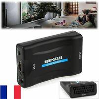 Adaptateur Convertisseur HDMI HD vers Péritel ( SCART ) TV Vidéo + Câble DC