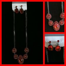 CHRISTINA C. Statement Necklace/Earrings Set Dark Silver w Red Crystals NWT