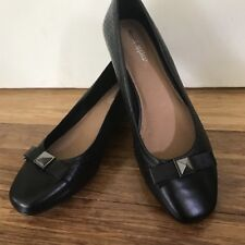 🎈 HUSH PUPPIES Leather Black Bow Eyelet Mary Janes Heals Loafers Sz 9 7 40