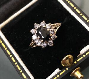 Women's Stylish 9ct Gold Ring Sapphire & CZ Stones Hallmarked Weight 1.4g Size N