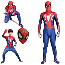 PS4 Game Spiderman Jumpsuit Costume Superhero Cosplay Spider Suit For Adult/Kids