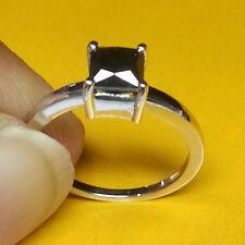 1.25 Ct Princess Cut Square Shape 100%Natural Treated Black Diamond Ring 14kGold