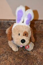 Sound N Light Plush Tan Brown Puppy Dog As Easter Rabbit Bunny Purple Ears, Bow