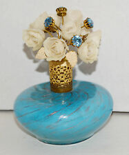 Vintage IRICE Murano Blue Stipe Flowers Top Perfume Bottle Italy Collectible