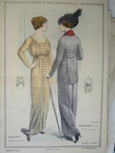 BELLE GRAVURE DE MODE COULEUR FEMME COSTUME CHIEN COIFFE ROBE DECORATION 1913 C