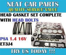 HEAD GASKET SET COMPLETE + BOLTS FOR PEUGEOT 207 307 206 1007 1.4 8V TU3JP