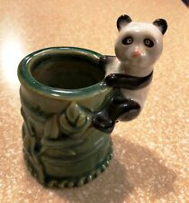 Vintage Panda on Bamboo Vase Flower Planter Pencil Cup