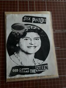 "SEX PISTOLS GSTQ QUEEN JUBILEE TEA CUP STICKER JAMIE REID 1977 PUNK FLYER 7"" UK"