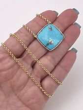 """Natural Persian Turquoise (21.2ct) & 14k Yellow Gold Bezel Necklace, 18.75"""", New"""
