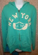 AMERICAN EAGLE Teal Green Full Zip Hooded Sweatshirt / Hoodie Women's Large