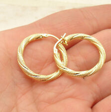 "1"" Twisted Diamond Cut Hoop Earrings Real 14K Yellow Gold 3X25mm  FREE SHIP"