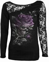 Spiral SKULL ROSE Womens Ladies Lace Long Sleeve One Shoulder Black Top Floral