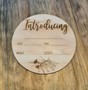 Wooden Birth Details Plaque - New Baby - Birth Announcement, Baby Name Plaque