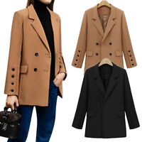 Womens Double Breasted Work Office Blazer Coat Winter Casual Formal Suit Jackets
