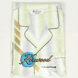 VTG 60s Deadstock Kerwood Mens Pajamas B/M Green Gray Stripe Sanforized Cotton