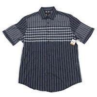 Alfani Mens Button Front Shirt Short Sleeve Blue Print Variety Sizes
