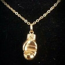New 14k Yellow Gold  Miniature Boxing Glove 3D Puffed hollow Pendant / charm.