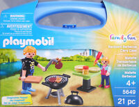 Playmobil US 5649 Backyard Barbecue Carry Case Grill Vater Kind Tisch NEU NEW