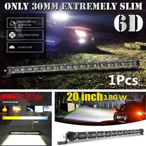 "Slim 20"" 180W Single Row Spot Beam LED Work Light Bar Off-Road Drive Fog Lamp"