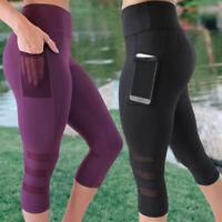 Womens High Waist Yoga Pants Pocket Fitness Sports Capri Leggings Plus Size X514