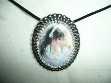 Antique Silvertone Brooch Pin Pendant 30x40mm Porcelain Cameo American Indian