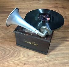 Rare vintage Antique Portable trumpetone fonógrafo Gramophone 1920s aprox.