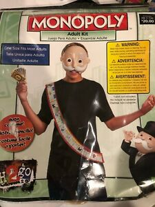 MONOPOLY Mask, Die Cut Money and Sash Disguise Halloween Costume NWT NEW