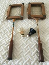 TWO VINTAGE BADMINTON RACKETS WITH FRAMES