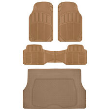 BDK Proliners Classic Rubber Car Floor Mats Beige-4pc Heavy Duty Diamond Grid