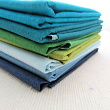 Linen texture Makower 100% cotton quilting fabric 7 fqt bundle BLUE/GREEN