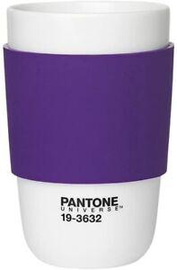 Pantone Purple Travel Coffee Cup Mug Flask With Silicone Band Petunia 19-3632