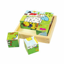 Bigjigs Toys Wooden Animal Cube Puzzle Chunky Jigsaw Educational Child Kids