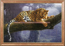 Leopard wall hanging artwork elegant DIY bead embroidery needlepoint beading kit