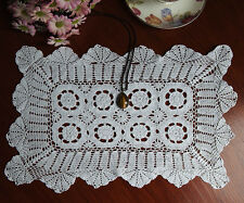 Fine Yarn Hand Crochet Lace Doily Doilies Mat Topper Rectangle 26x40CM White