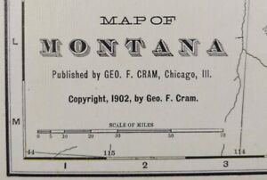 "Vintage 1902 (dated) MONTANA Map 22""x14"" Old Antique Original FORT BENTON MT"