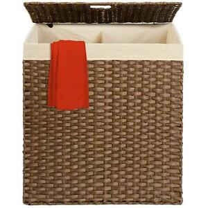 Laundry Hamper Basket Double Compartments Easy Assembly With Liner Bag Multi
