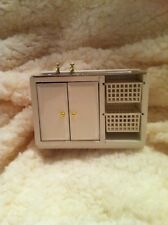 Dolls House 1:12th Scale White Wooden Unit with Stainless Steel Sink