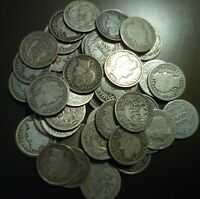 Five (5) silver Barber Dimes - random - ALL tougher dates and/or better grades.