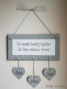 Personalised Grey Two Hearts Romantic Plaque Gift Wedding Anniversary Present
